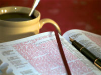 Bible - Open with coffee